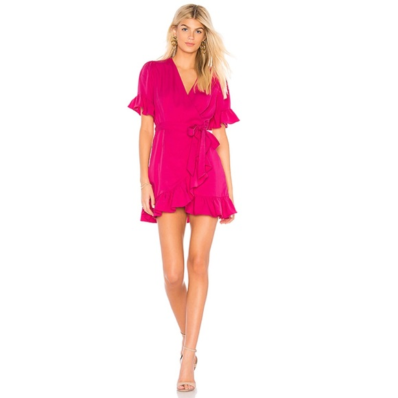 Line & Dot Dresses & Skirts - Line & Dot Cherie Ruffle Wrap Mini Dress Fuchsia